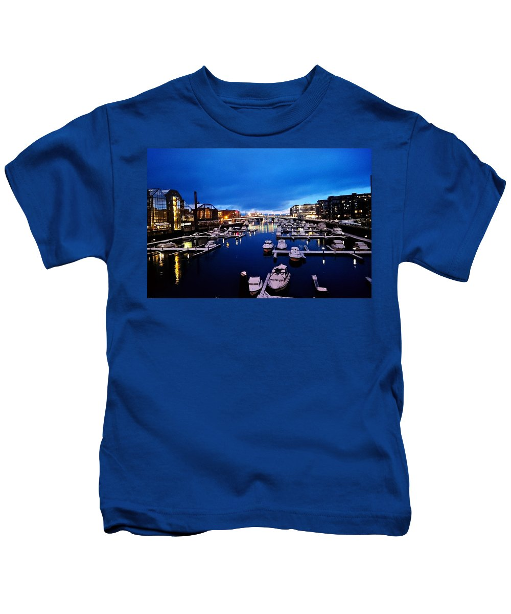 City Trondheim Norway Early Morning Bridge View Boats Pier Lights Outside Colors Lights Hotel Wood Old Fishingboats Photography Blue Heaven Sky Water Sea Houses Kids T-Shirt featuring the photograph Trondheim by Helen Barth