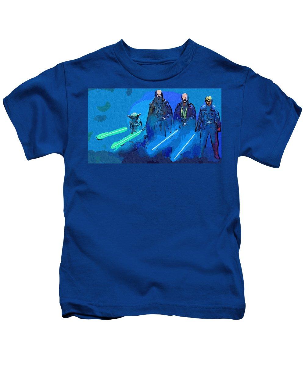 Star Wars Kids T-Shirt featuring the digital art Star Wars Saga Art by Larry Jones