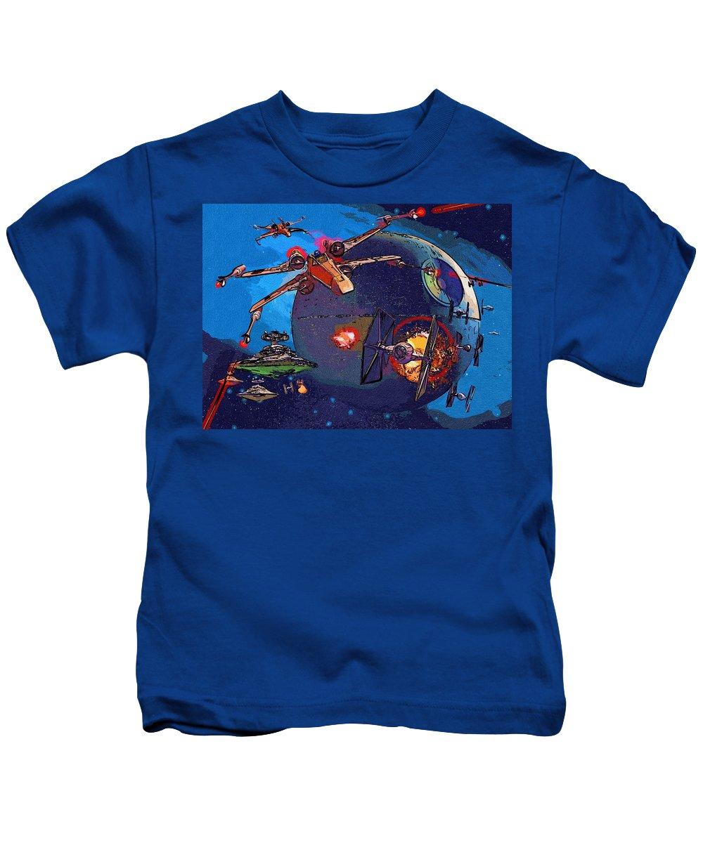 Star Wars Kids T-Shirt featuring the digital art Galaxies Star Wars Poster by Larry Jones