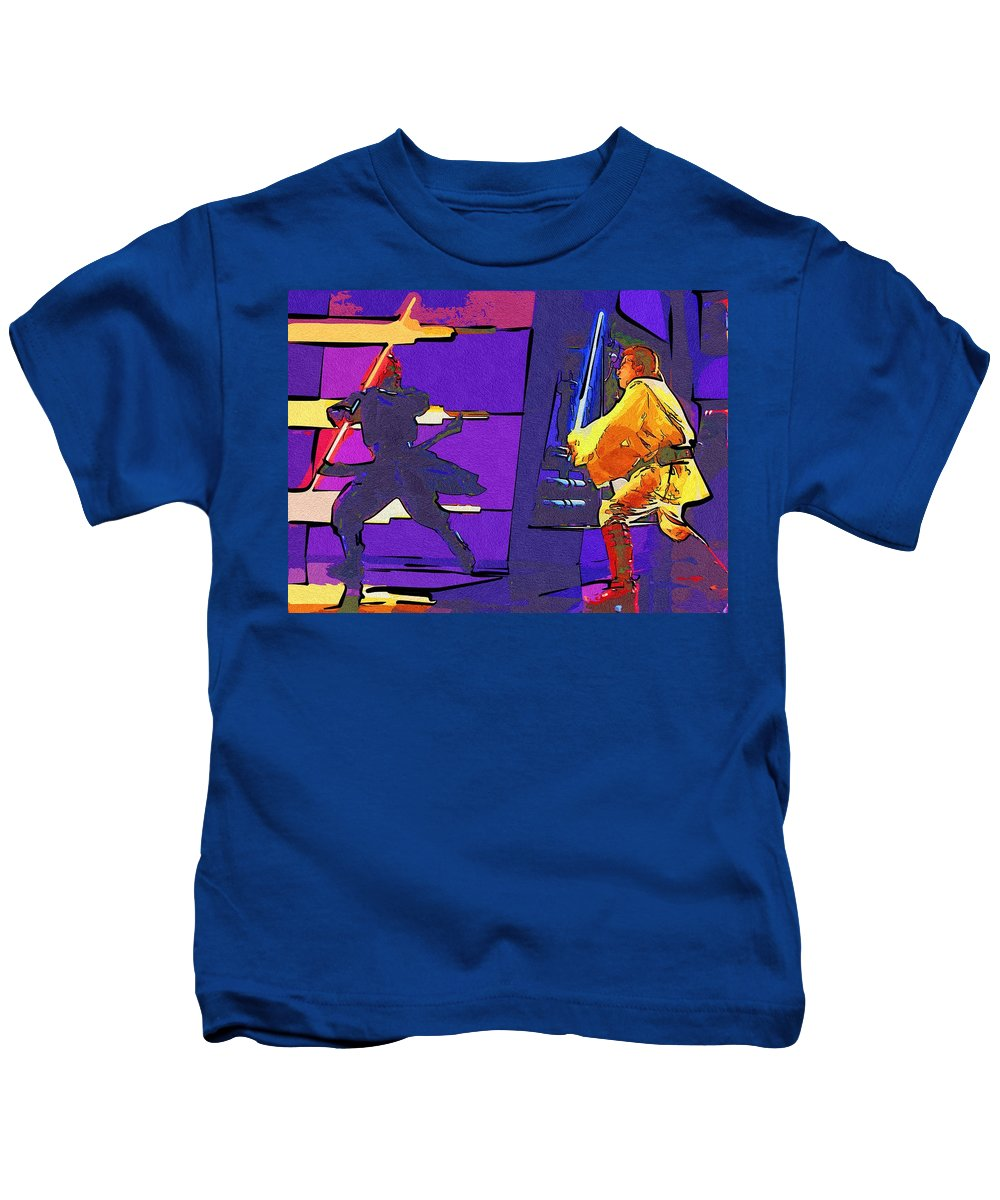 Star Wars Kids T-Shirt featuring the digital art Star Wars The Trilogy Poster by Larry Jones