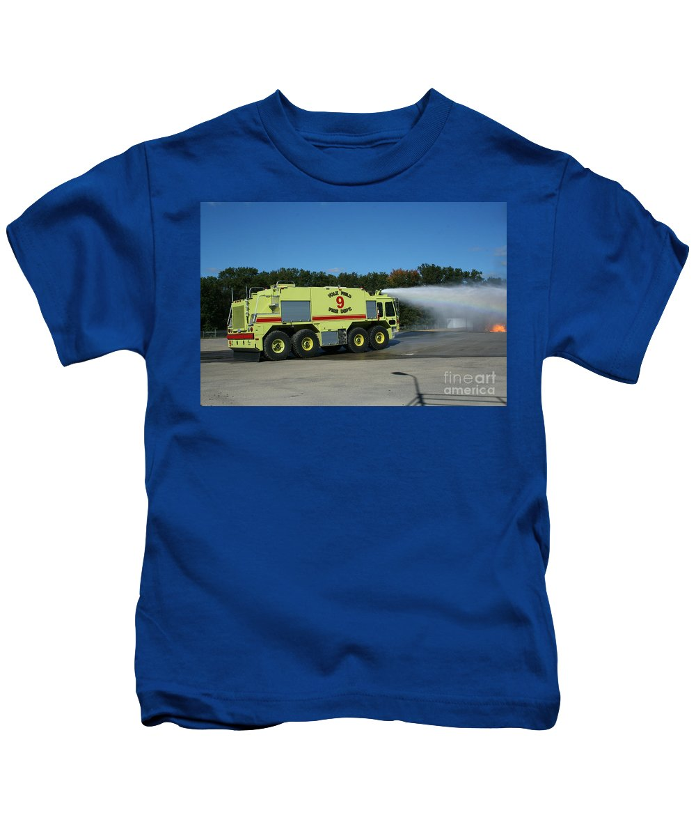 Firefighting Kids T-Shirt featuring the photograph Firefighting by Tommy Anderson