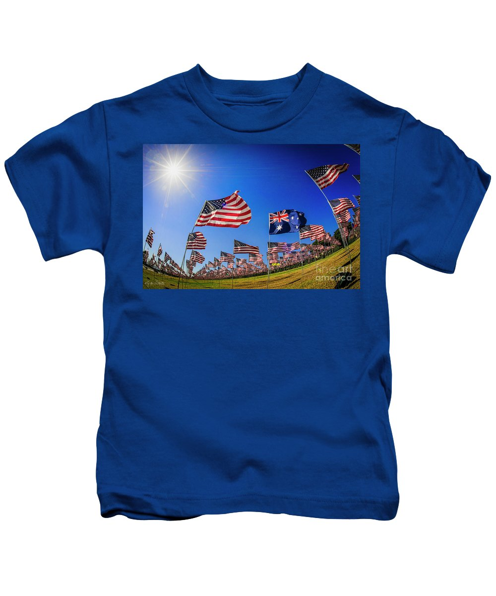 Australian Kids T-Shirt featuring the photograph Pepperdine Flag Salute by Julian Starks