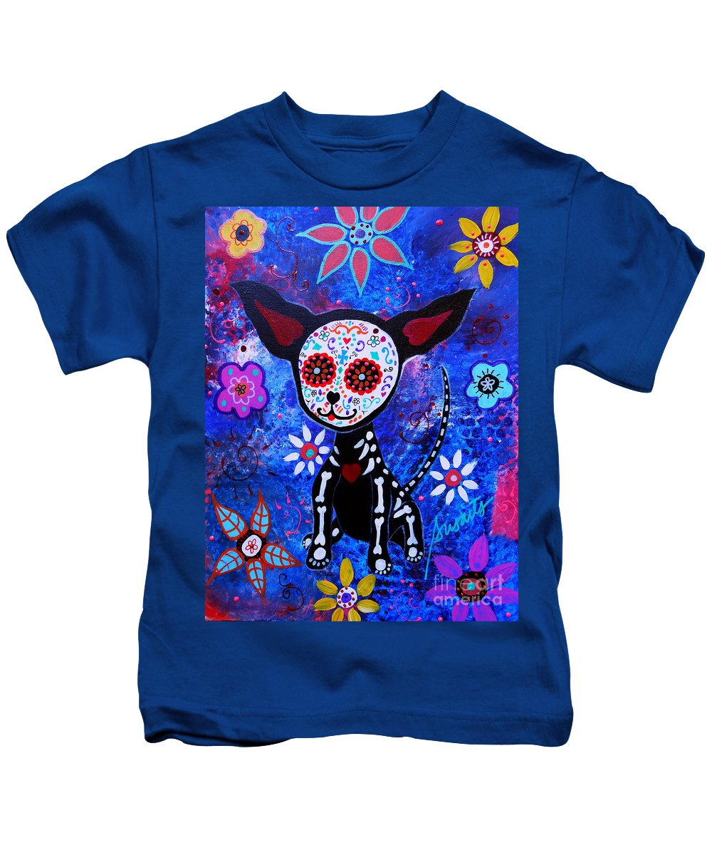 Dog Kids T-Shirt featuring the painting Chihuahua Day Of The Dead by Pristine Cartera Turkus