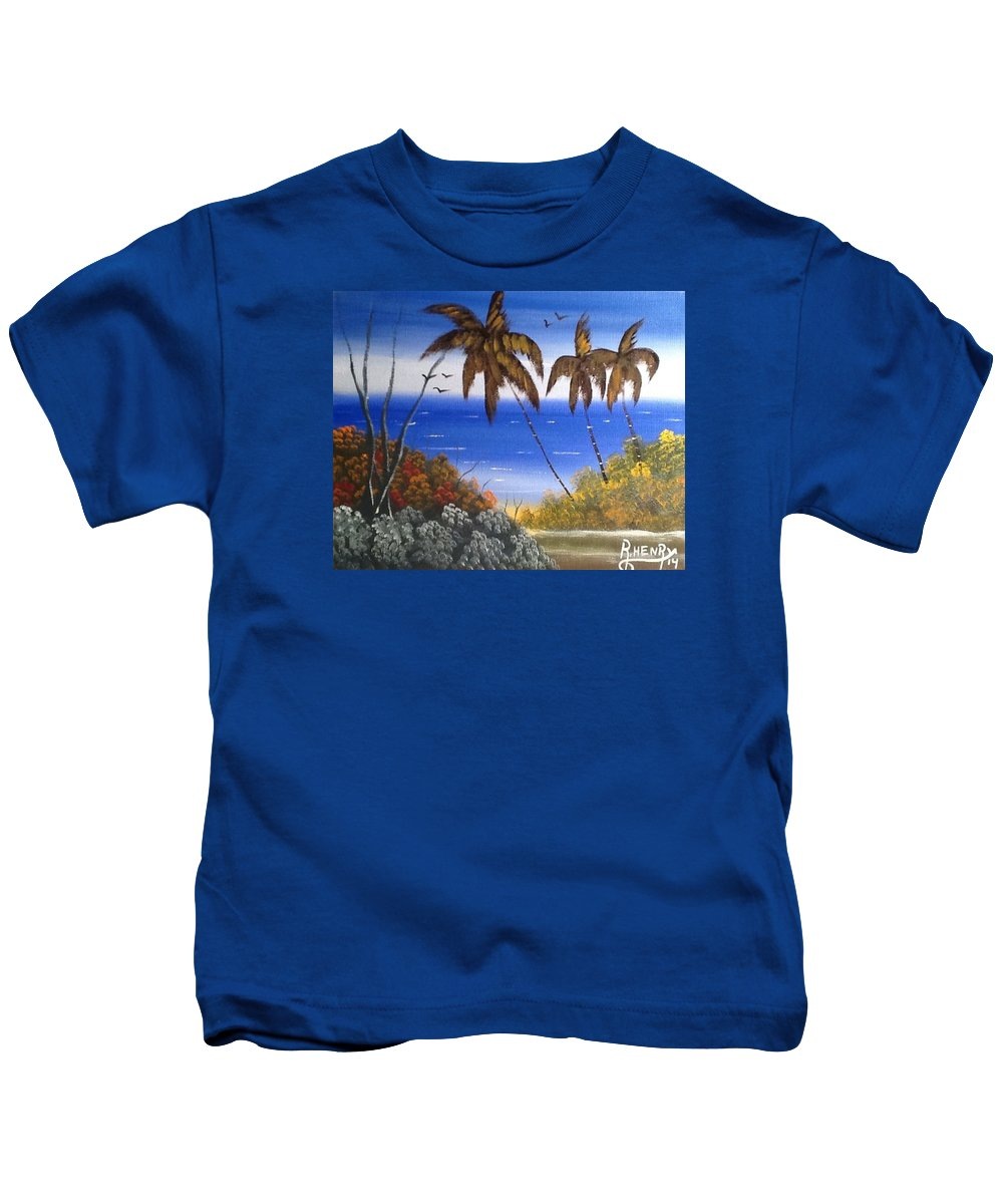 Kids T-Shirt featuring the painting Seescape by Reginald Henry