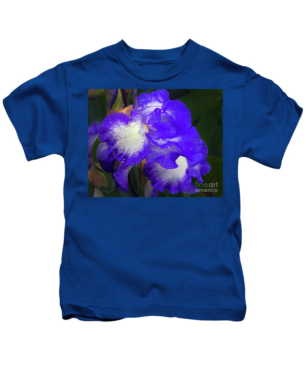 Flowers Kids T-Shirt featuring the photograph Blue Iris by Elvira Ladocki