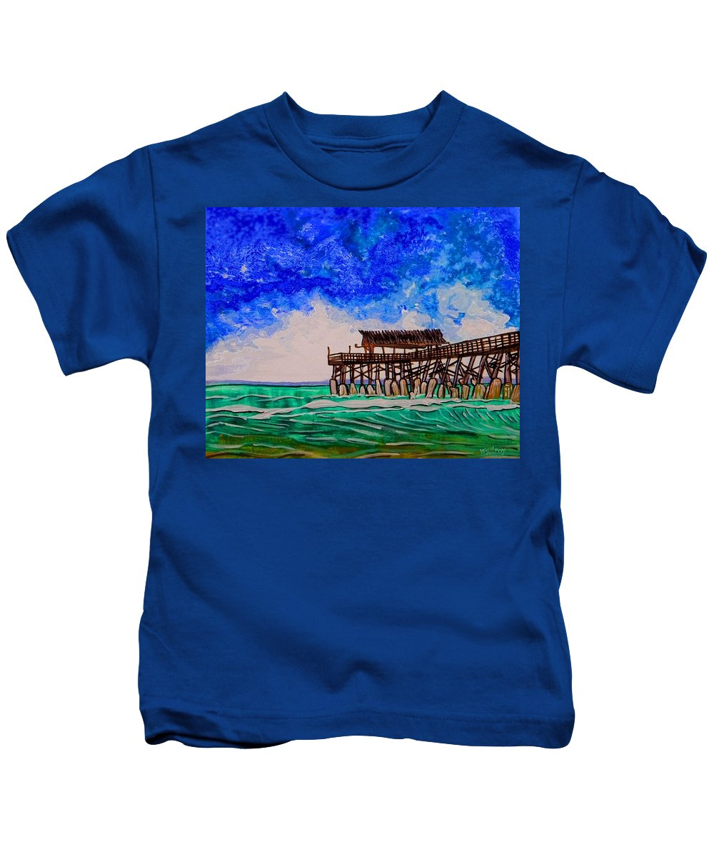 Wgilroy Kids T-Shirt featuring the painting Cocoa Beach Pier by W Gilroy