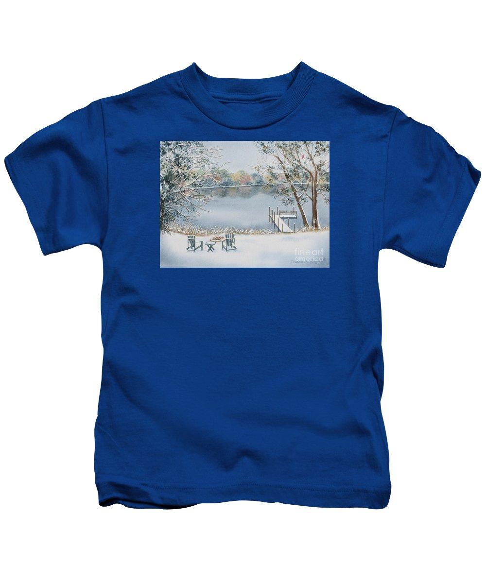 Lake Kids T-Shirt featuring the painting 4 Seasons-winter by Deborah Ronglien