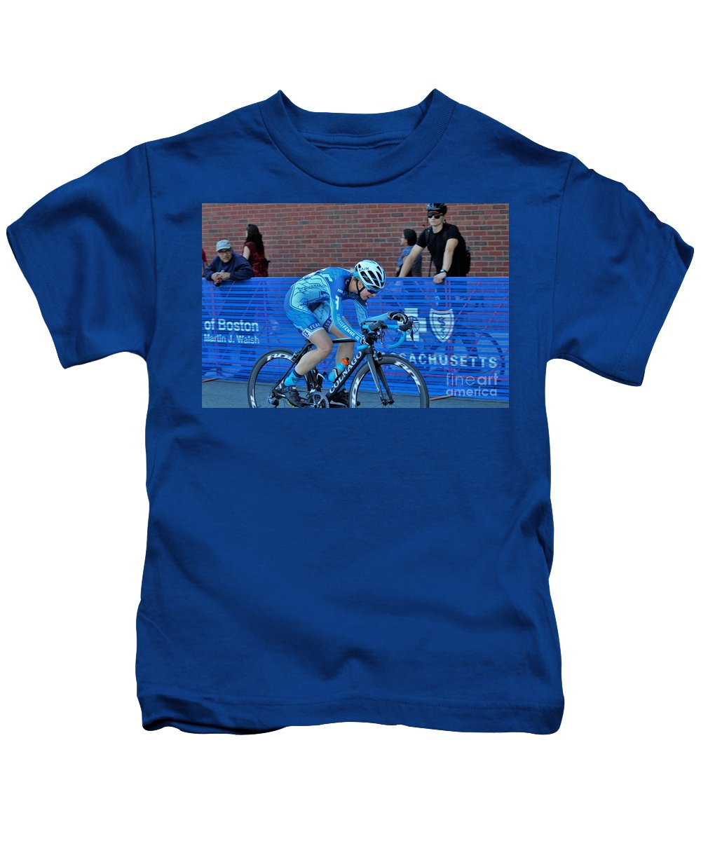 Fearless Femme Racing Kids T-Shirt featuring the photograph Fearless Femme Racing by Donn Ingemie