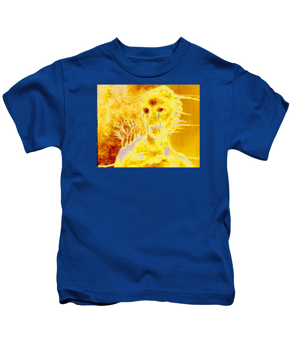 Blue Kids T-Shirt featuring the painting Untitled by Veronica Jackson