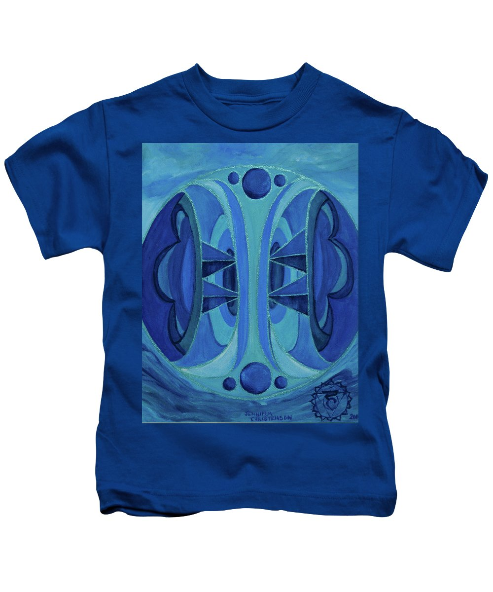 Mandala Kids T-Shirt featuring the painting 5th Mandala - Throat Chakra by Jennifer Christenson