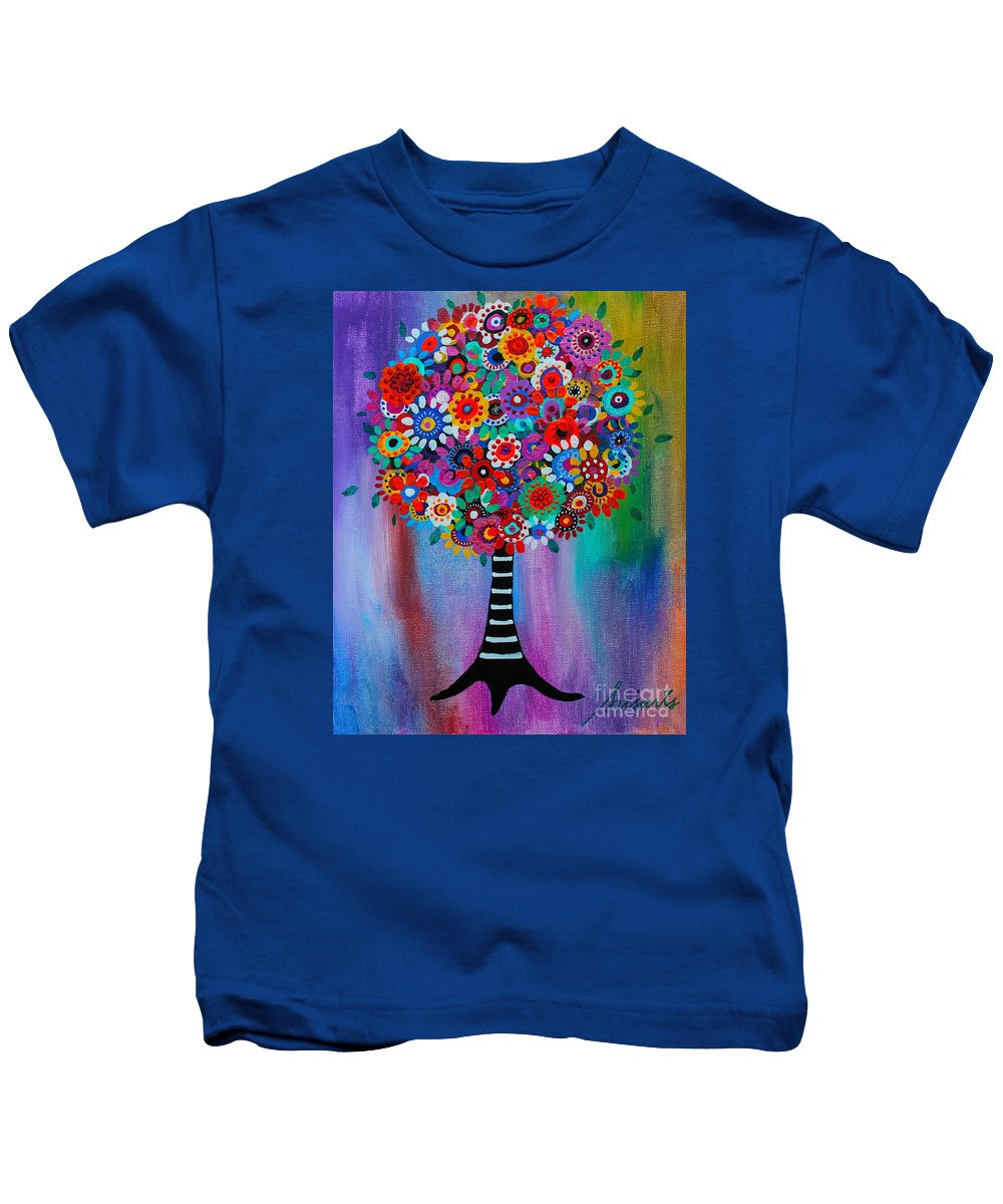 Angel Kids T-Shirt featuring the painting Tree Of Life by Pristine Cartera Turkus