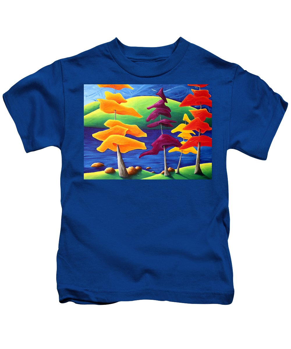 Landscape Kids T-Shirt featuring the painting A Crowd Gathers by Richard Hoedl