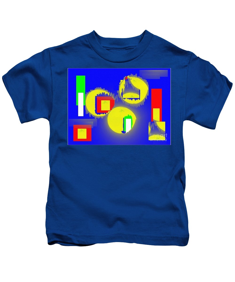 Vintage Kids T-Shirt featuring the mixed media A Crowd Of Three by Isaac Khonjelwayo