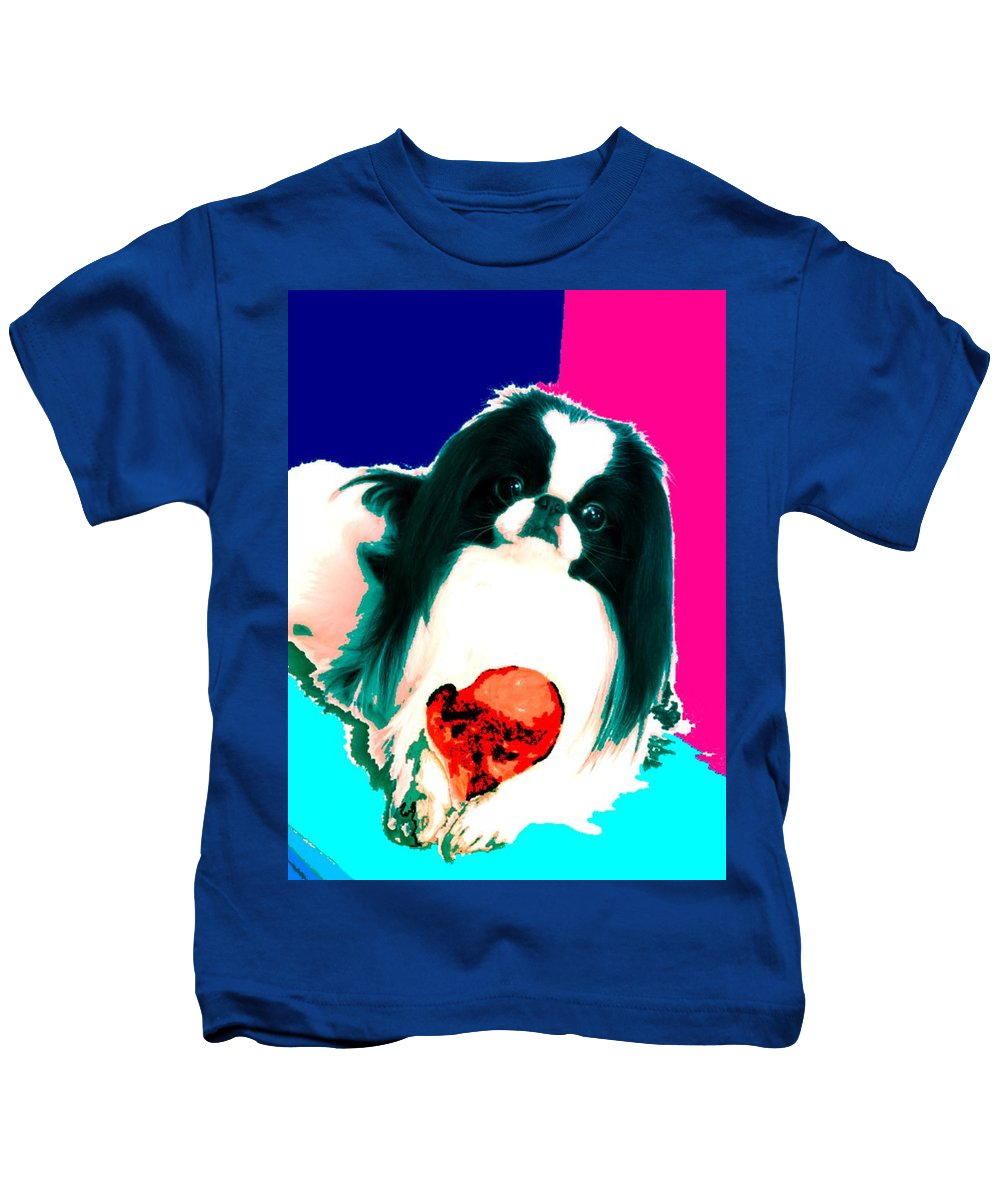 A Japanese Chin And His Toy Kids T-Shirt featuring the digital art A Japanese Chin And His Toy by Kathleen Sepulveda