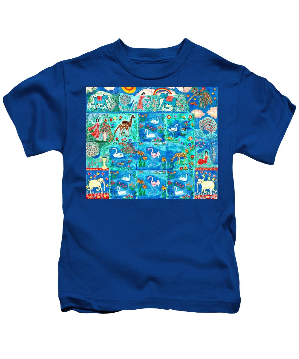 Sue Burgess Kids T-Shirt featuring the painting A Magic Country by Sushila Burgess