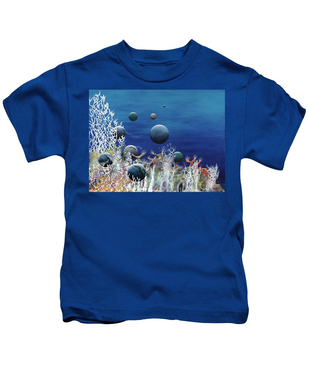 Beach House Kids T-Shirt featuring the painting A New World by Lee Pantas