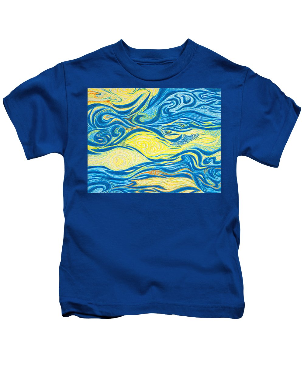 Art Kids T-Shirt featuring the drawing Abstract Art Good Morning Contemporary Modern Artwork Giclee Fine Art Prints Life Cycle Swirls Water by Baslee Troutman