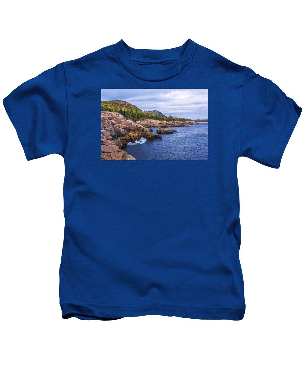 Acadia's Coast Kids T-Shirt featuring the photograph Acadia's Coast by Chad Dutson