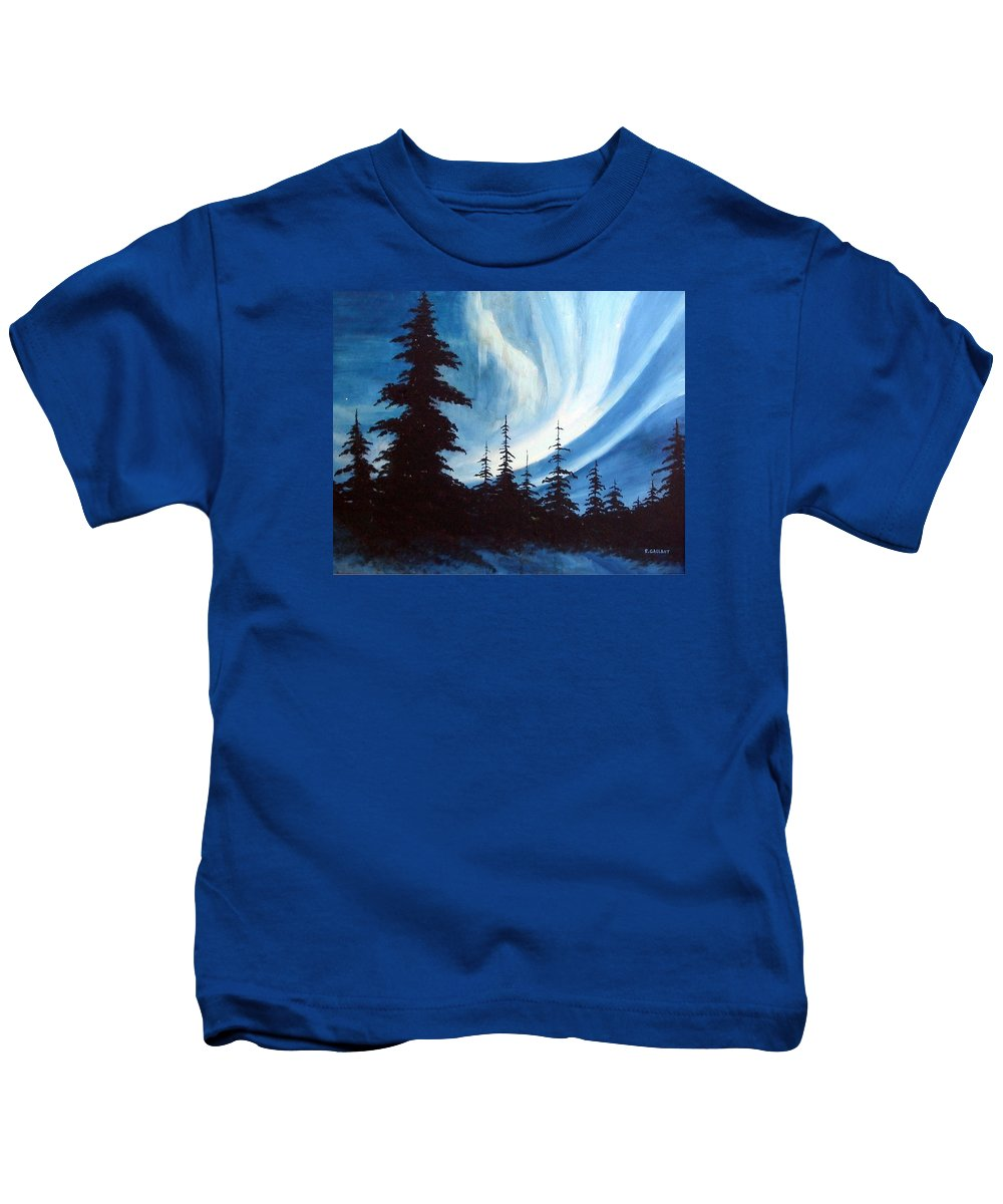 Landscape Kids T-Shirt featuring the painting Actic Aurora by Rick Gallant