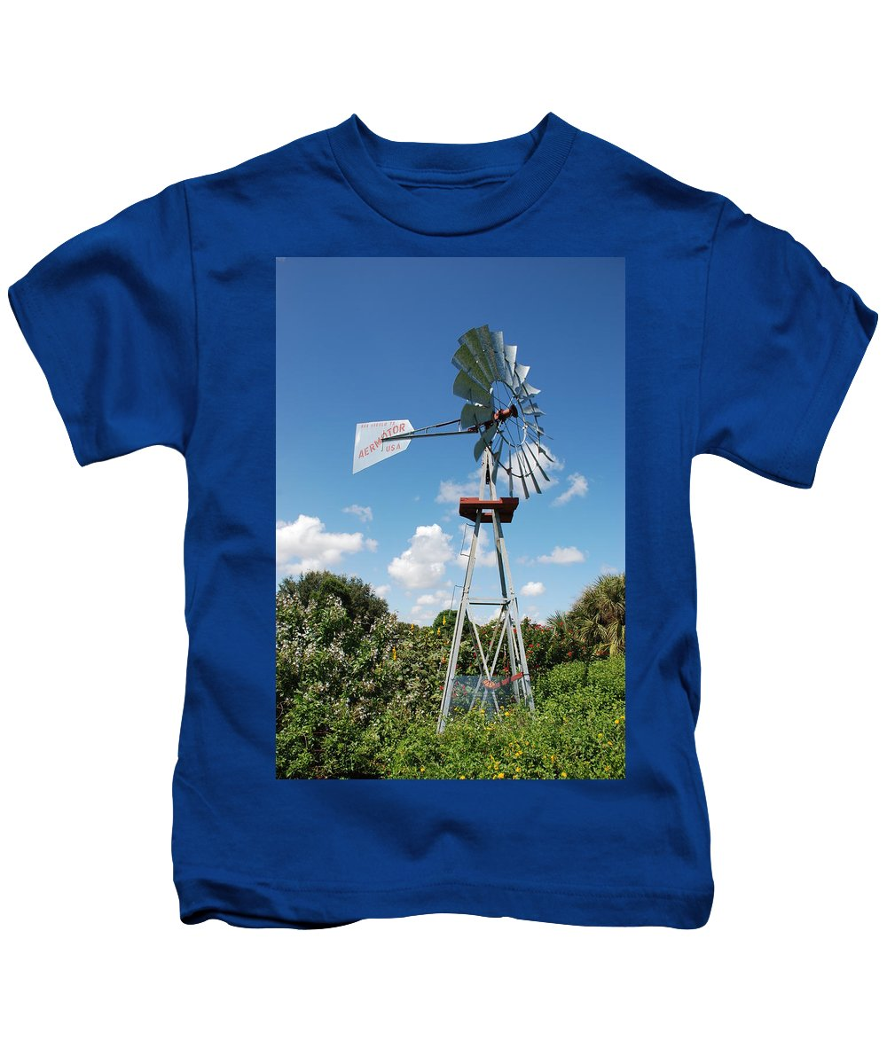 Blue Kids T-Shirt featuring the photograph Aeromotor Windmill by Rob Hans