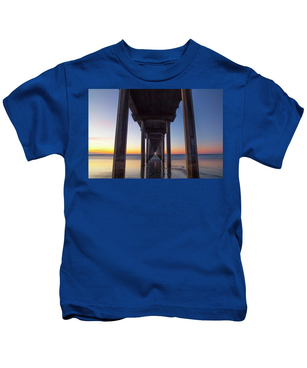 Scripps Pier Kids T-Shirt featuring the photograph After Sunset At Scripps Pier by Michael Sangiolo