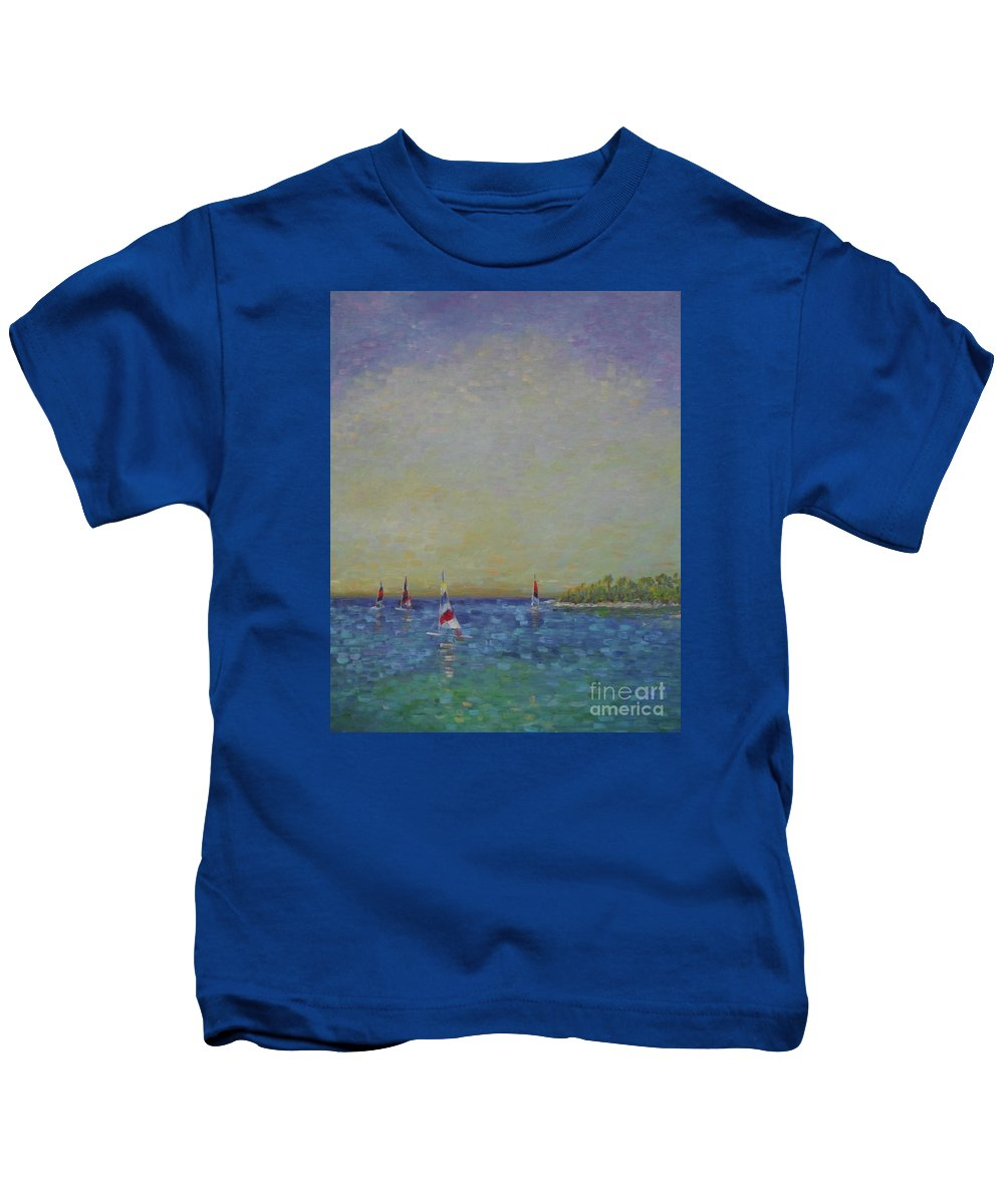My #blueoceanstrategy Kids T-Shirt featuring the painting Afternoon Sailing by Gail Kent