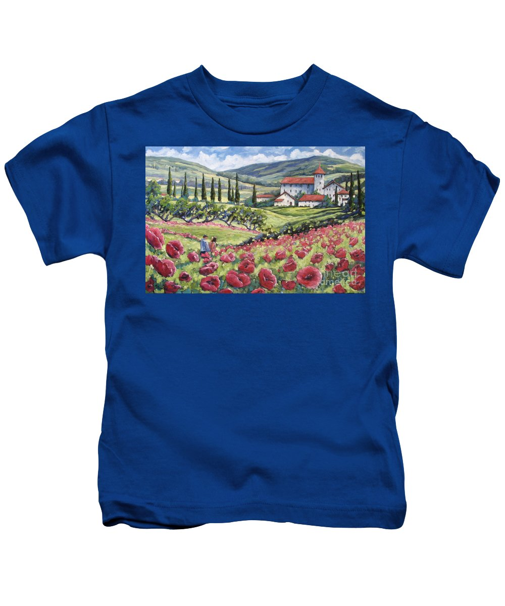 Tuscan Kids T-Shirt featuring the painting Afternoon Stroll by Richard T Pranke