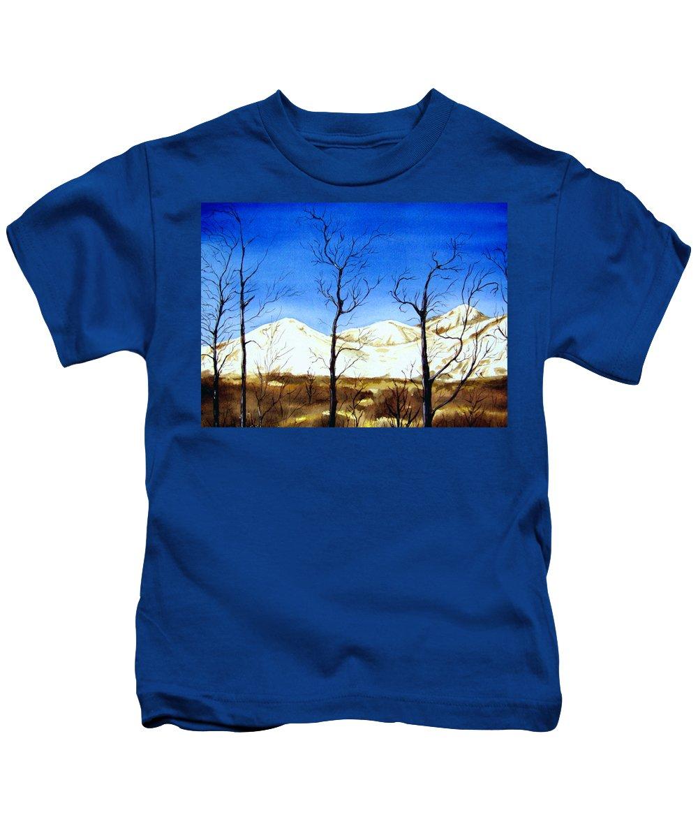 Landscape Kids T-Shirt featuring the painting Alaska Blue Sky Day by Brenda Owen