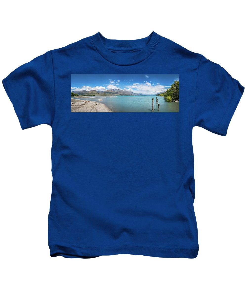 Camping Kids T-Shirt featuring the photograph Alpine Scenery Panorama At Kinloch, New Zealand by Daniela Constantinescu