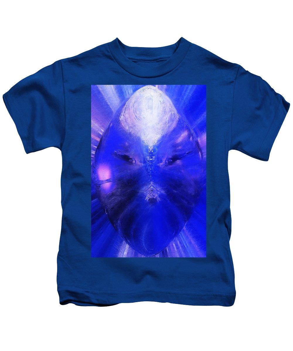 Digital Painting Kids T-Shirt featuring the digital art An Alien Visage by David Lane
