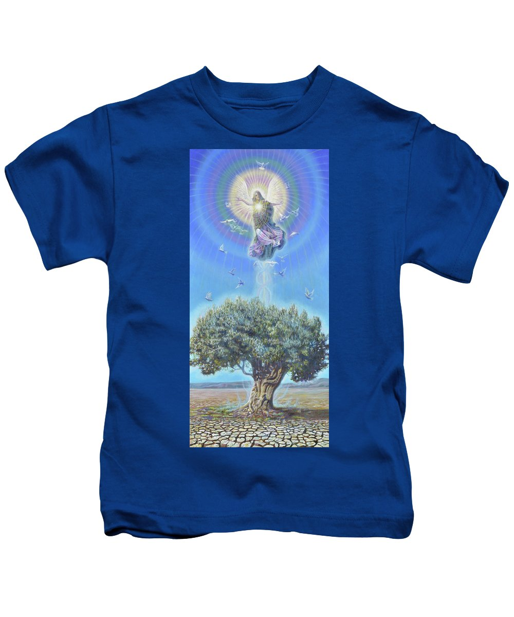 Angel Kids T-Shirt featuring the painting Angel over the Olive Tree II by Miguel Tio
