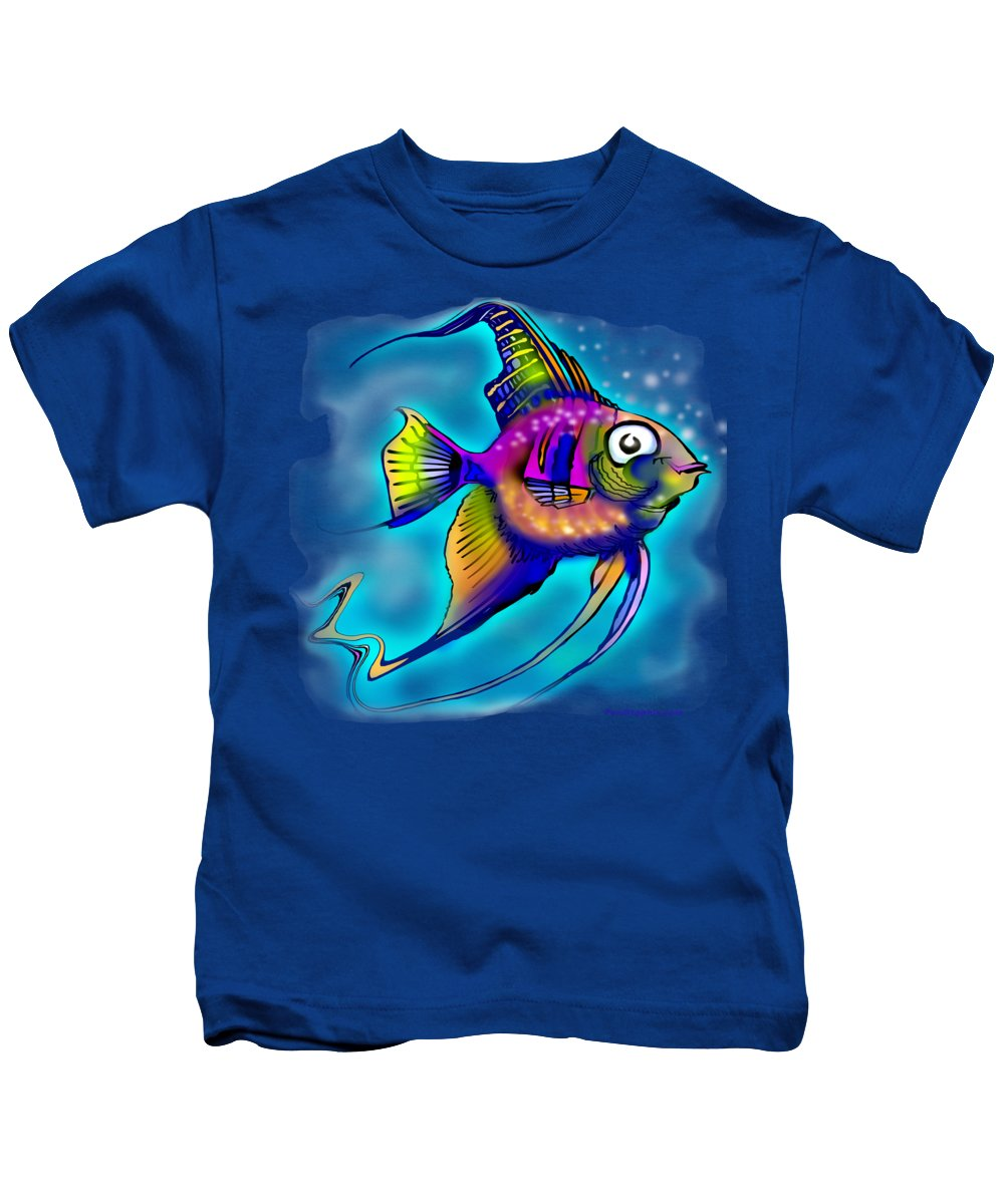 Angelfish Kids T-Shirt featuring the painting Angelfish by Kevin Middleton