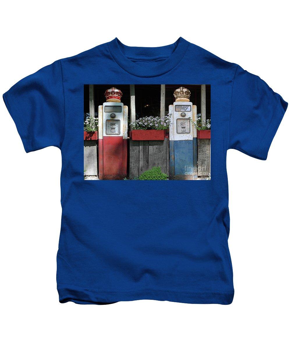 Antigue Kids T-Shirt featuring the photograph Antique Gas Pumps by Jost Houk