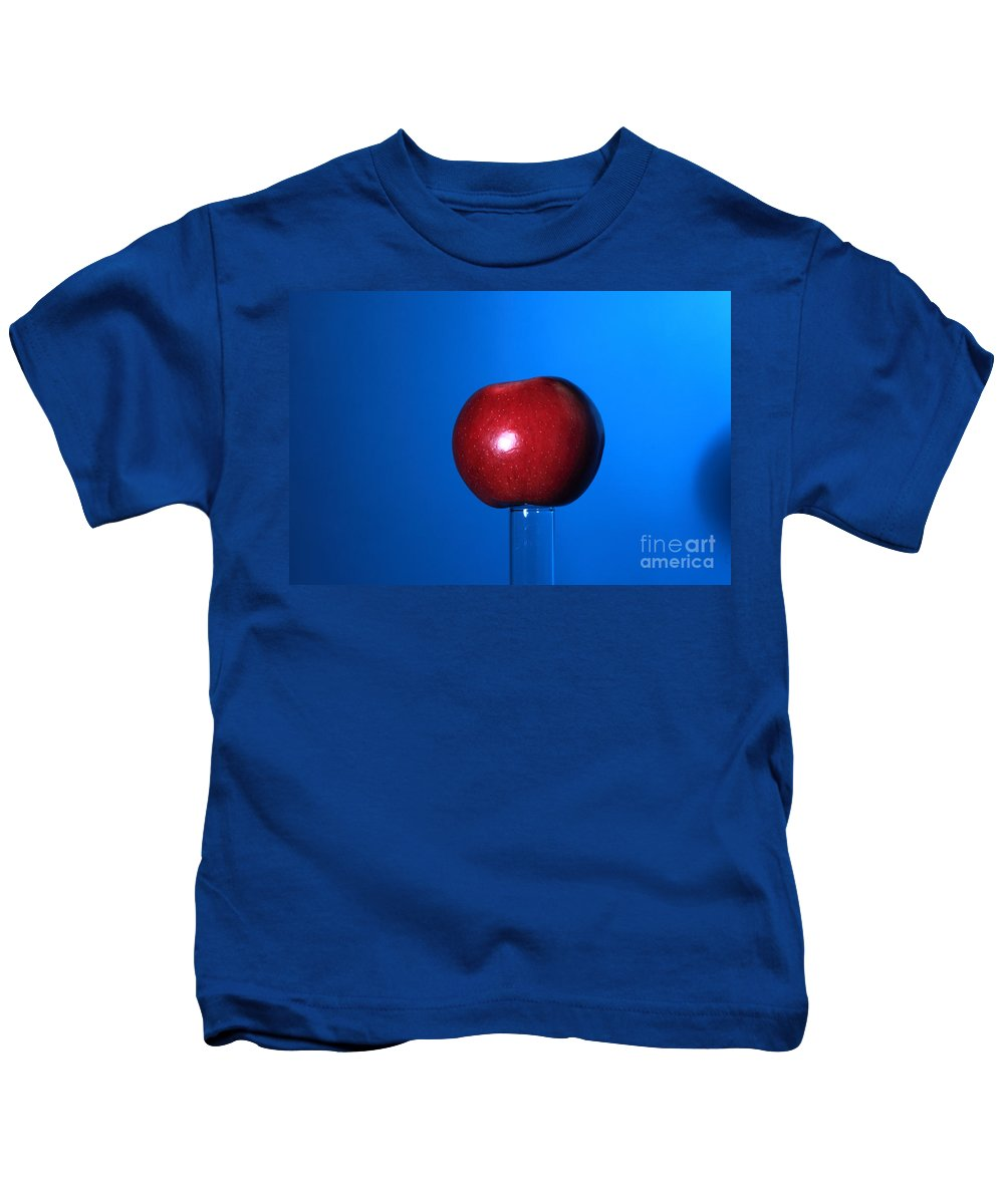 Science Kids T-Shirt featuring the photograph Apple Before Bullet Impact by Ted Kinsman