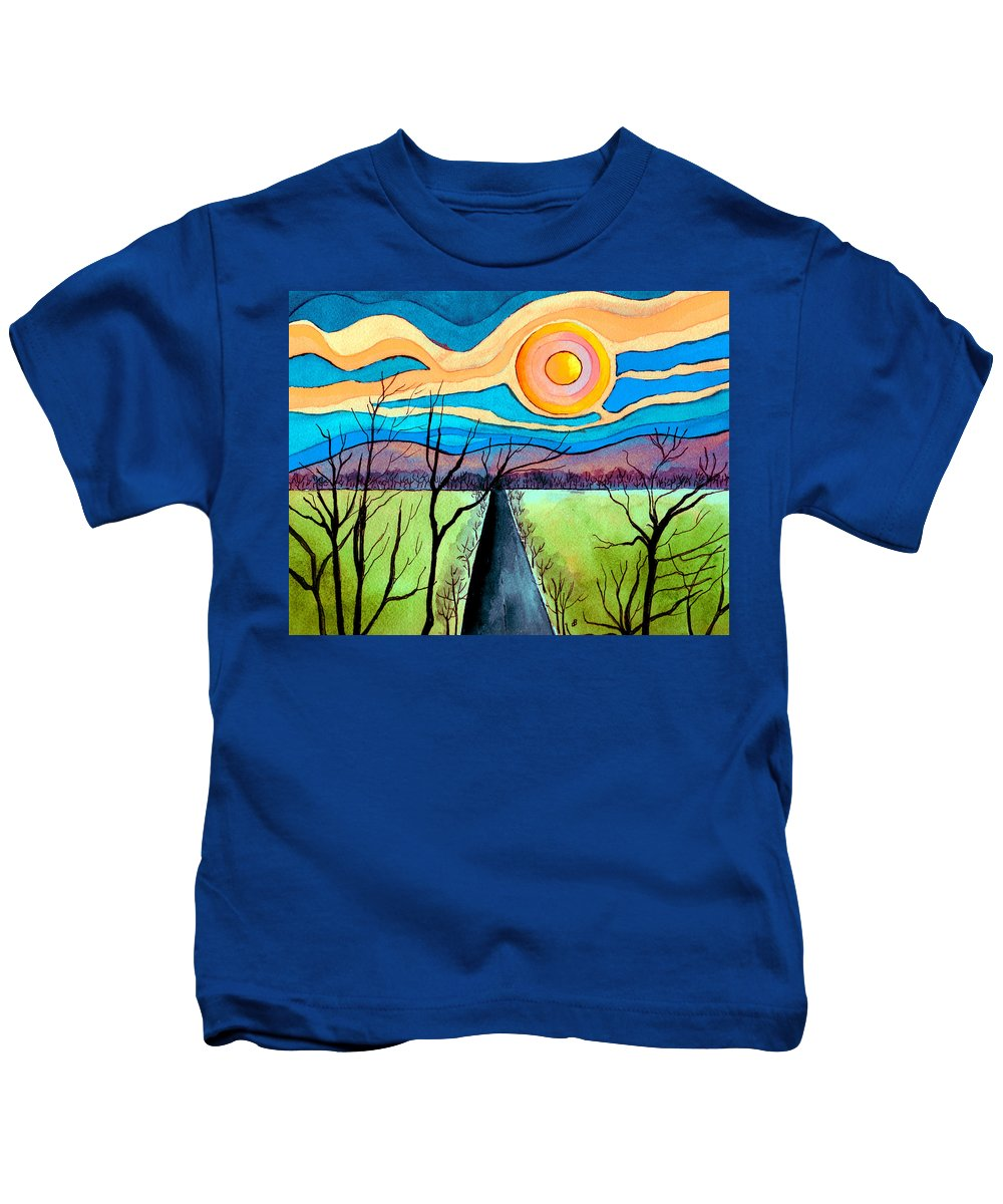 Landscape Kids T-Shirt featuring the painting Approaching Lossarnach by Brenda Owen