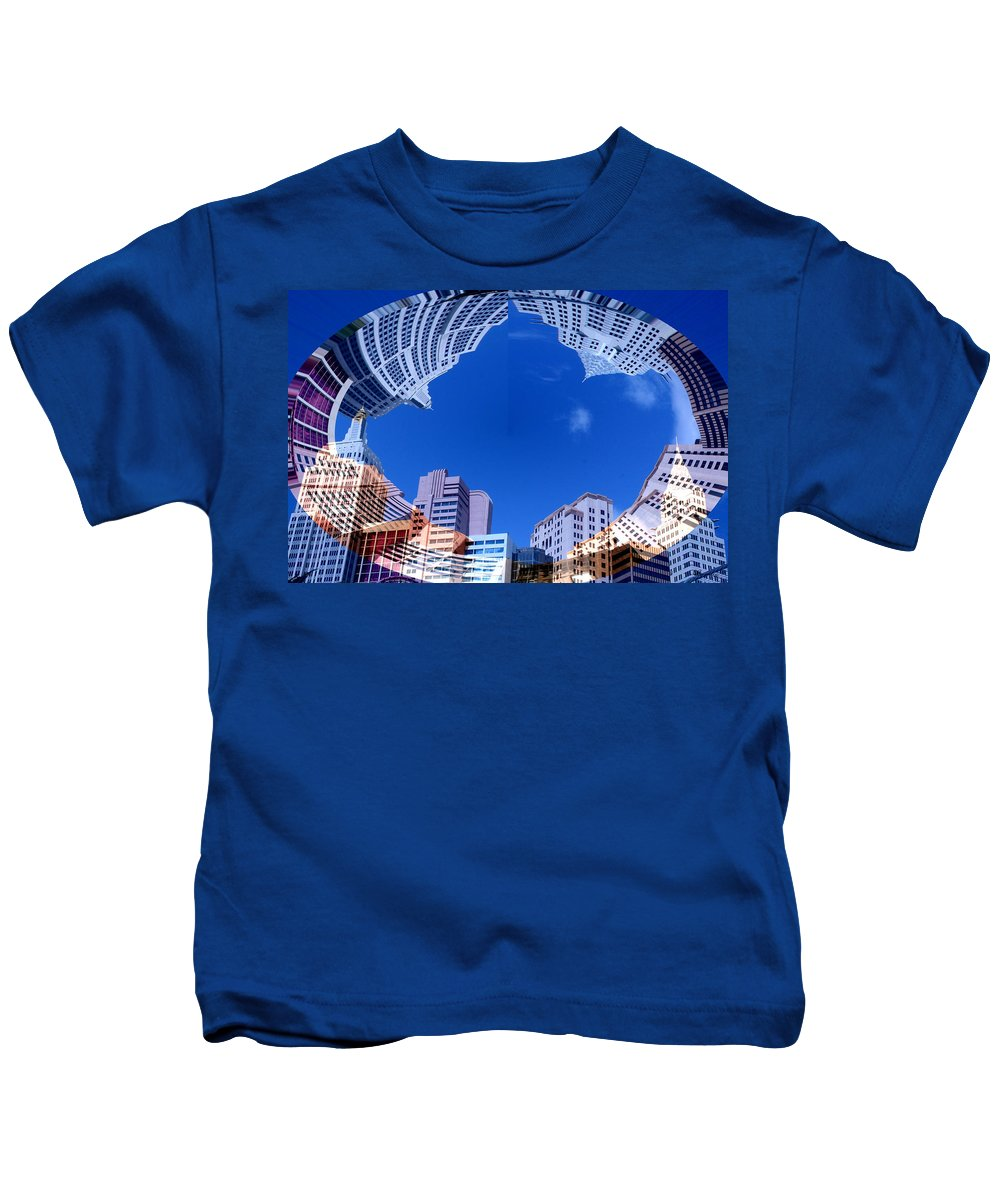 New York City Sky Line Las Vegas Sky Scrapers Clouds Buildings Kids T-Shirt featuring the photograph Around New York by Andrea Lawrence