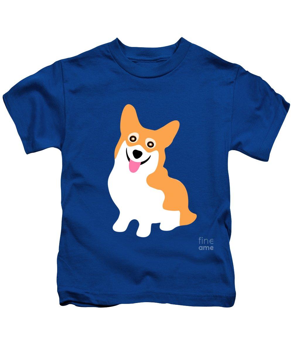 Corgi Kids T-Shirt featuring the digital art Smiling Corgi Pup by Antique Images