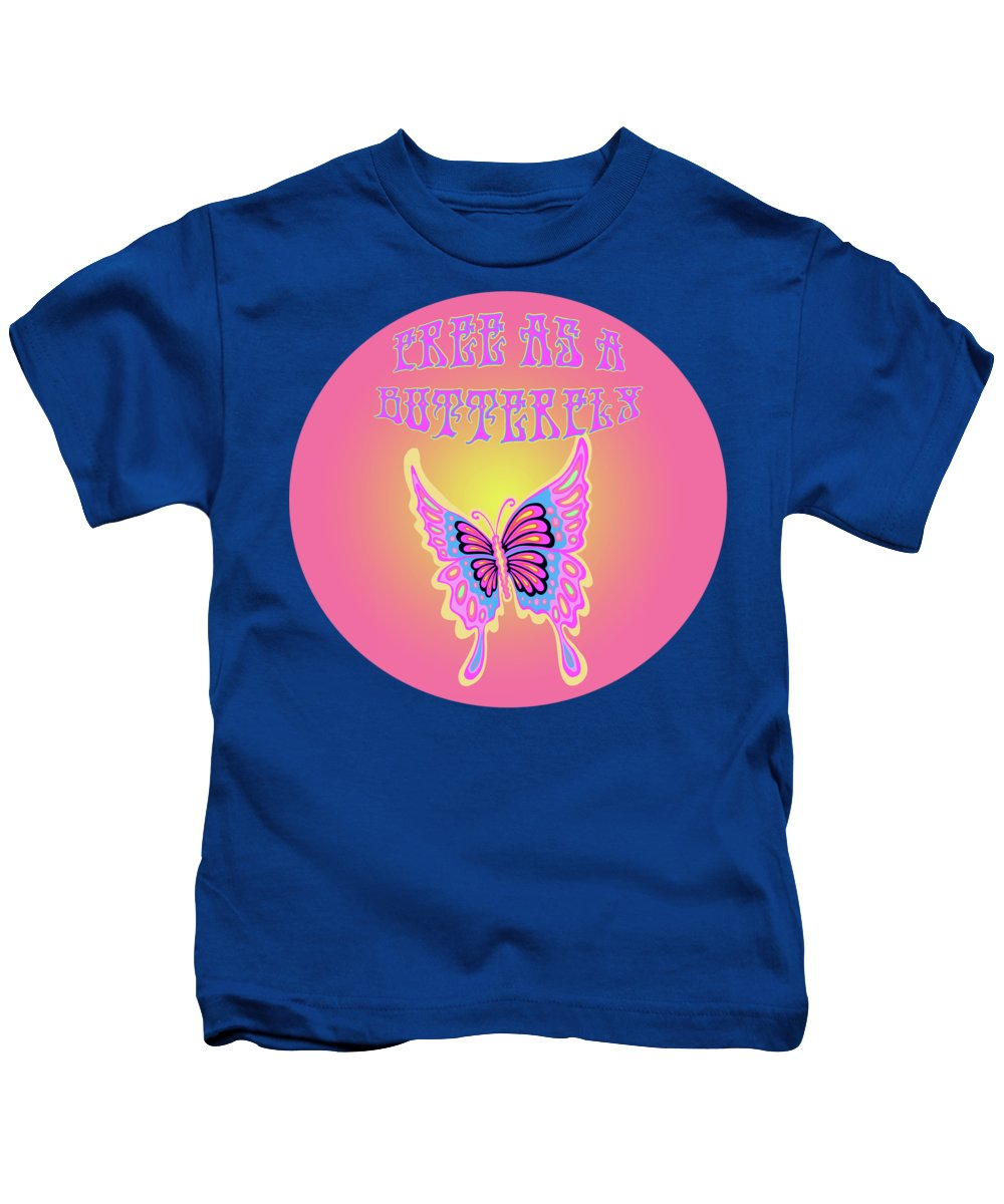 Butterfly Kids T-Shirt featuring the painting Free As A Butterfly by Little Bunny Sunshine
