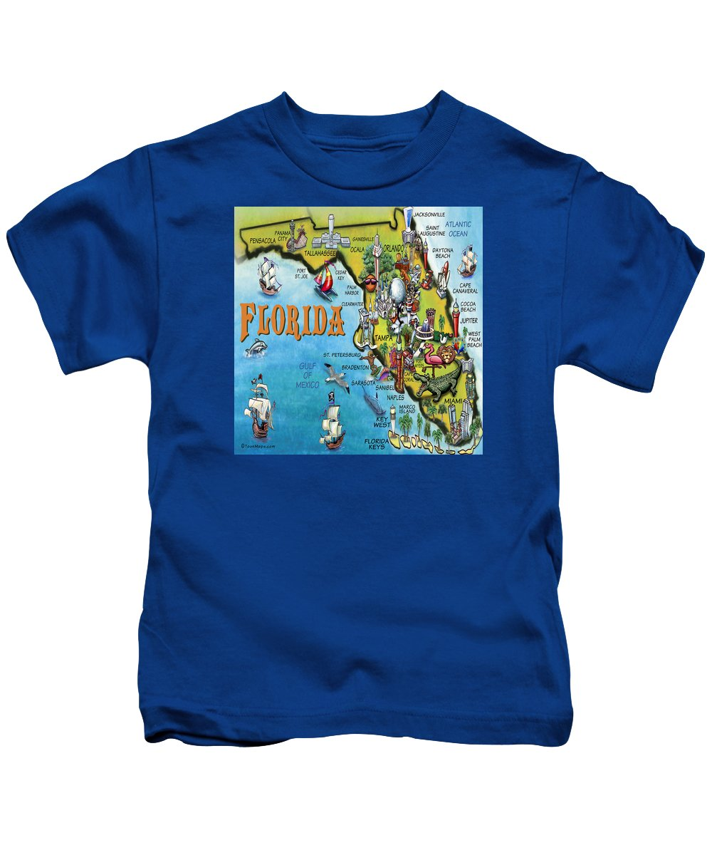 Florida Kids T-Shirt featuring the digital art Florida Cartoon Map by Kevin Middleton