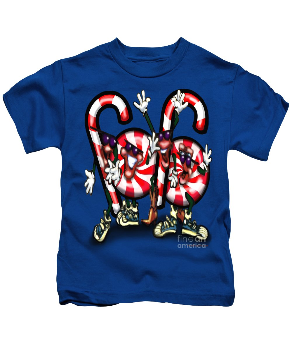 Candy Kids T-Shirt featuring the digital art Candy Cane Gang by Kevin Middleton