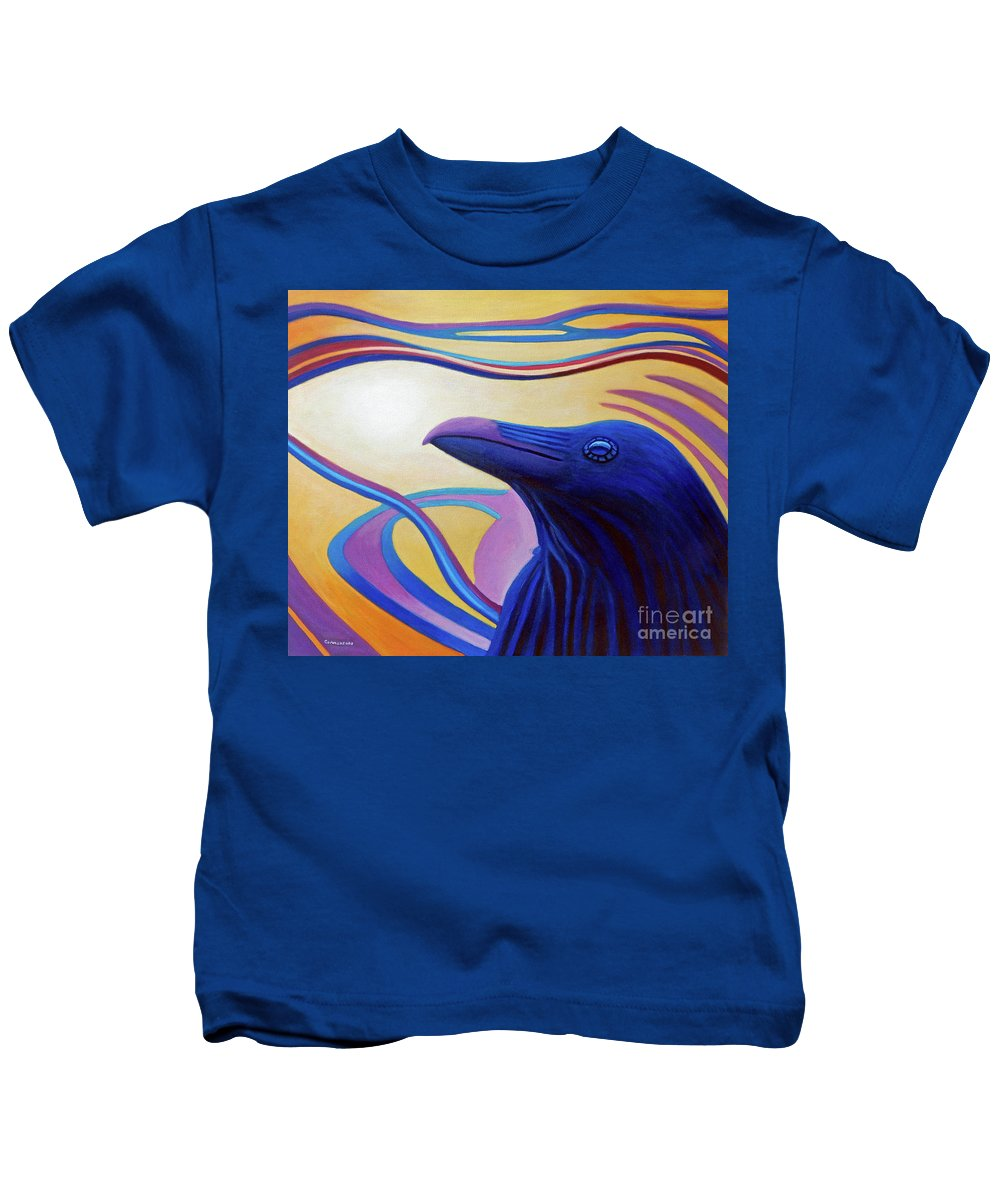 Raven Kids T-Shirt featuring the painting Astral Raven by Brian Commerford