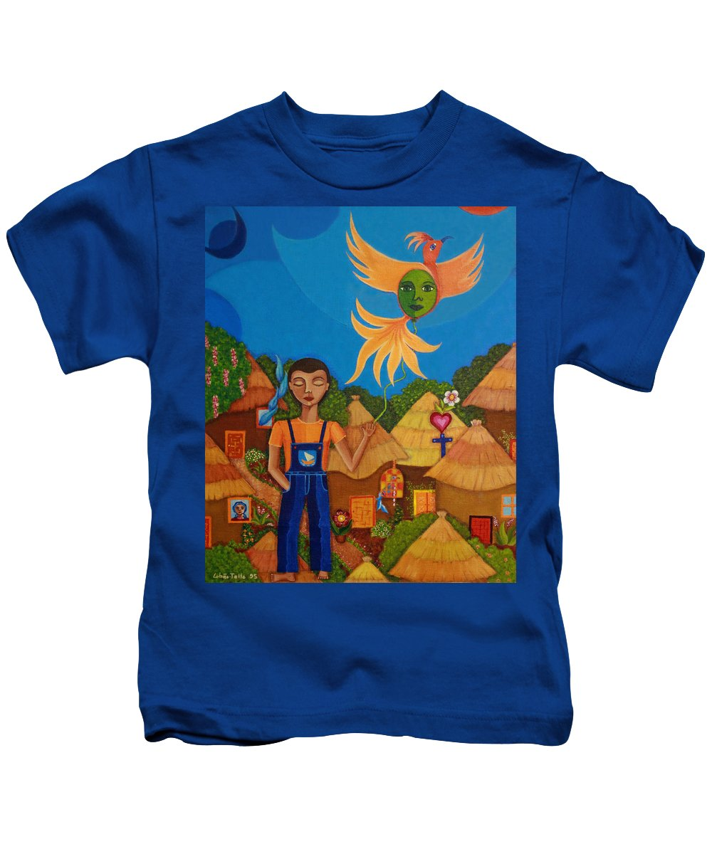 Autism Kids T-Shirt featuring the painting Autism - A Flight To... by Madalena Lobao-Tello