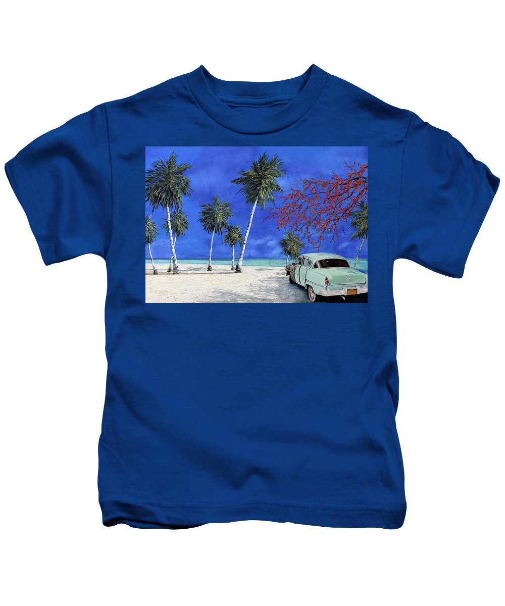 Seacsape Kids T-Shirt featuring the painting Auto Sulla Spiaggia by Guido Borelli