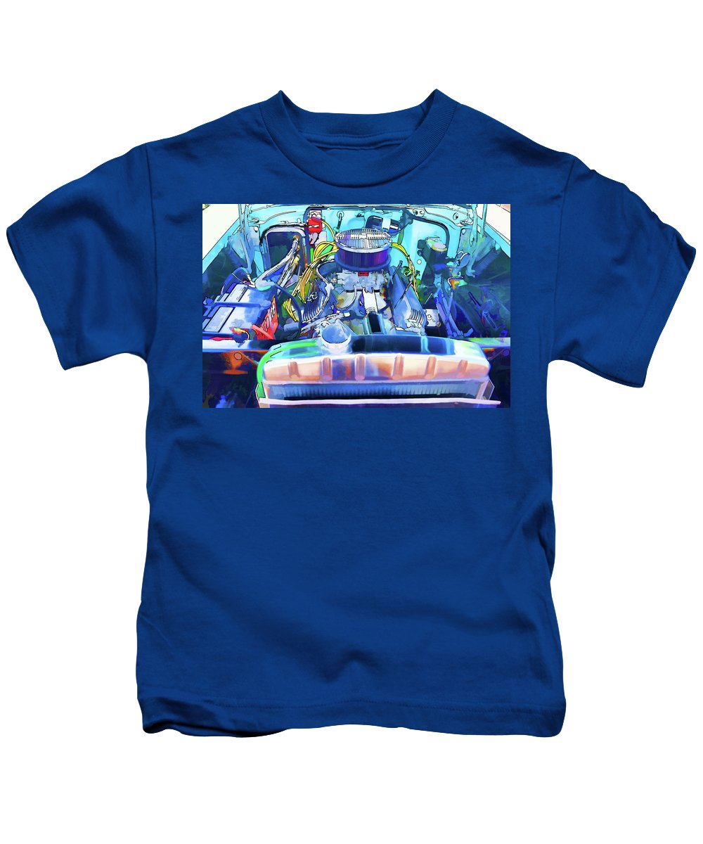 Automotive Engine Kids T-Shirt featuring the painting Automotive Engine by Jeelan Clark