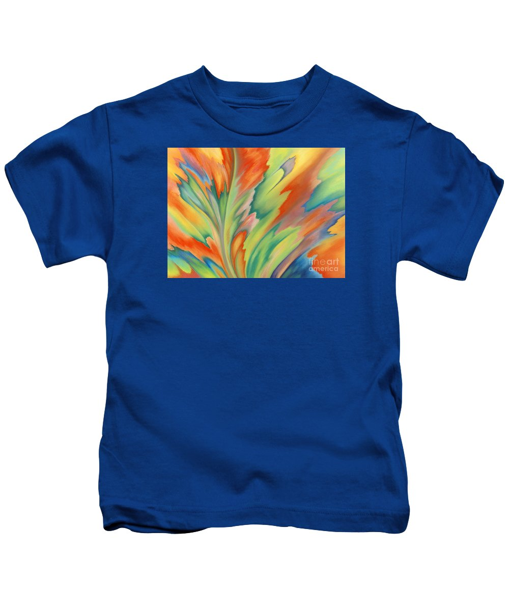 Abstract Kids T-Shirt featuring the painting Autumn Flame by Lucy Arnold