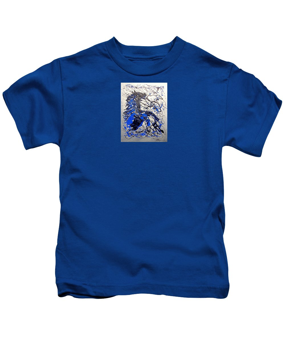 Abstract/impressionist Art Kids T-Shirt featuring the painting Azul Diablo by J R Seymour