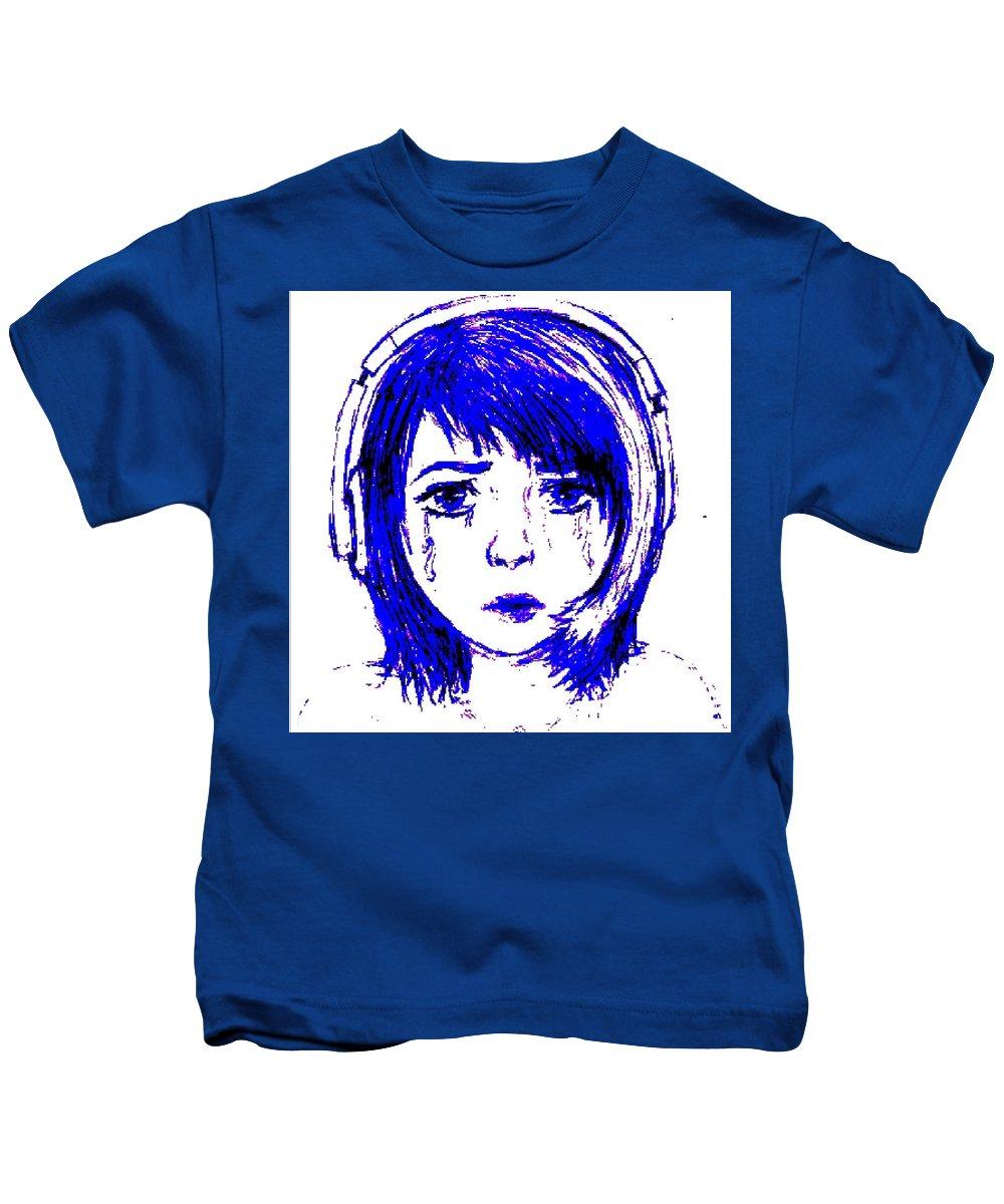 Kids T-Shirt featuring the digital art Azurite by Desiree D'Arnall