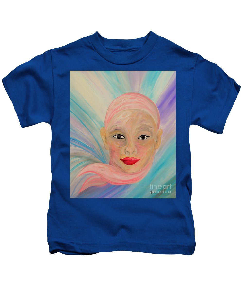 Bald Kids T-Shirt featuring the painting Bald Is Beauty With Brown Eyes by Eloise Schneider Mote