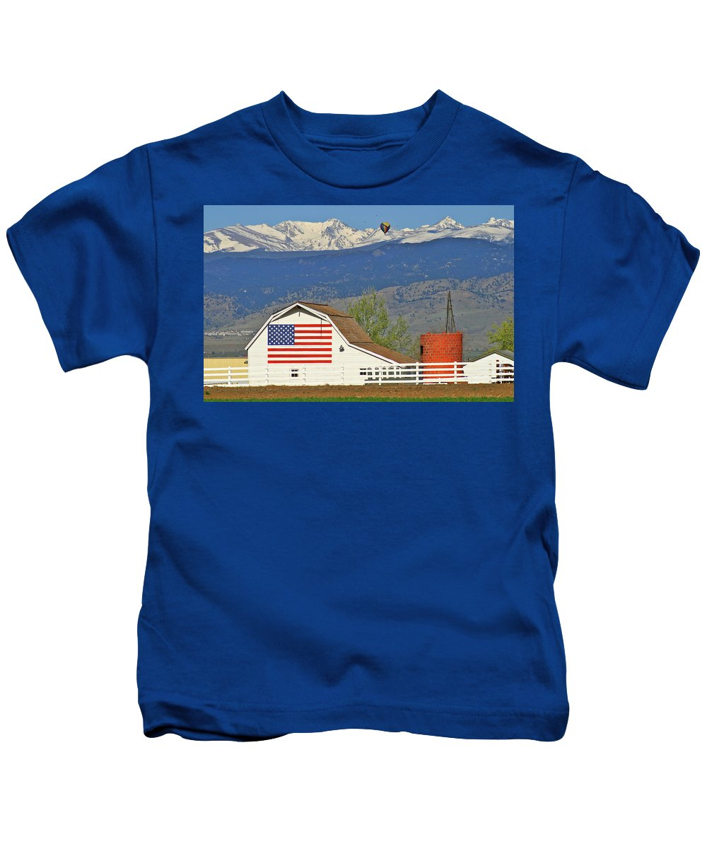 Balloon Kids T-Shirt featuring the photograph Balloon Barn And Mountains by Scott Mahon