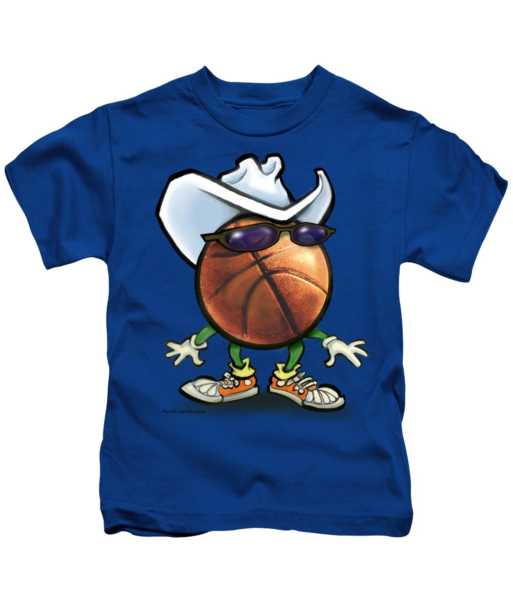 Basketball Kids T-Shirt featuring the digital art Basketball Cowboy by Kevin Middleton